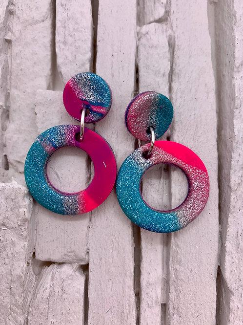 Pink Swirl, Glitter, Circle Clay Earrings