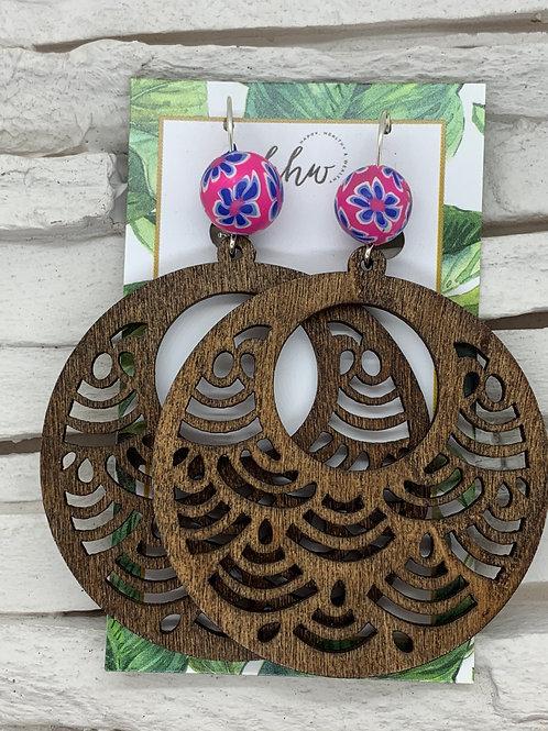 Filigree Wooden Beaded Earrings