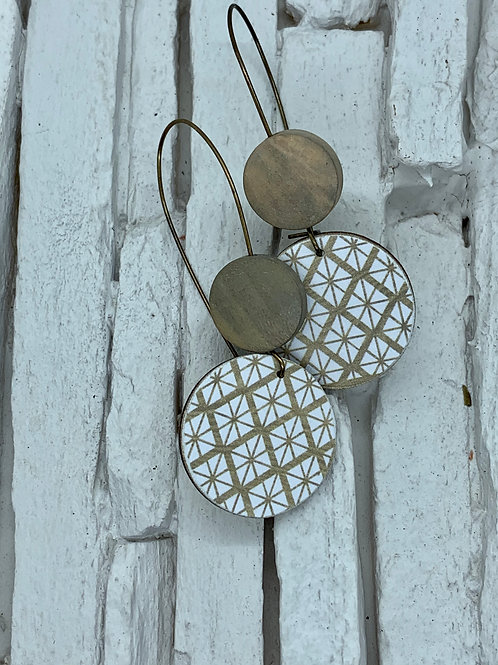 Gold Pattern, Tan, Double Wooden Round Hanging Earring