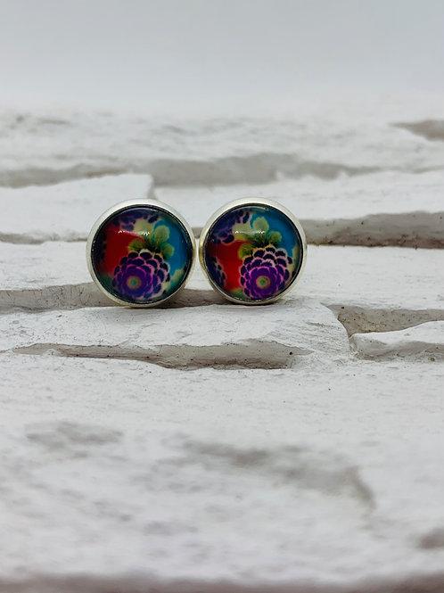 12mm Silver Stud Earrings, Purple Floral