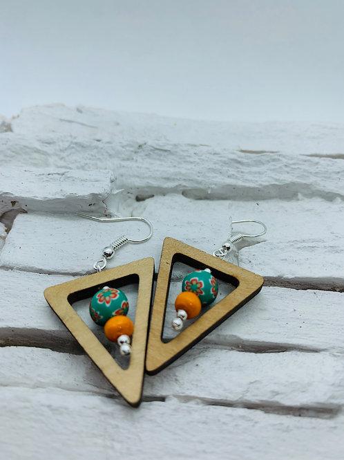 Wooden Triangle, Green & Orange Bead