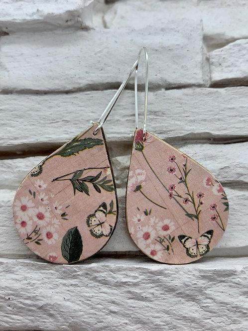 Pink Spring, Wooden Drop, Hanging Earrings