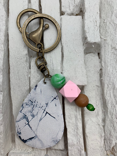 White/Charcoal Leather Drop, Multicolour Beaded Keyring