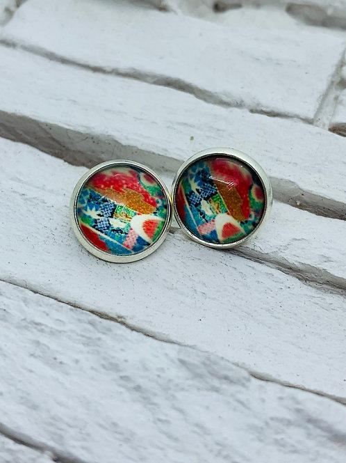 12mm Silver Stud Earrings, Red/Blue Aztec