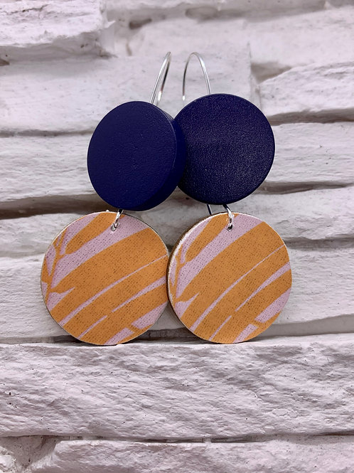 Pink/Orange Leaf, Navy Blue, Double Wooden Round Hanging Earring