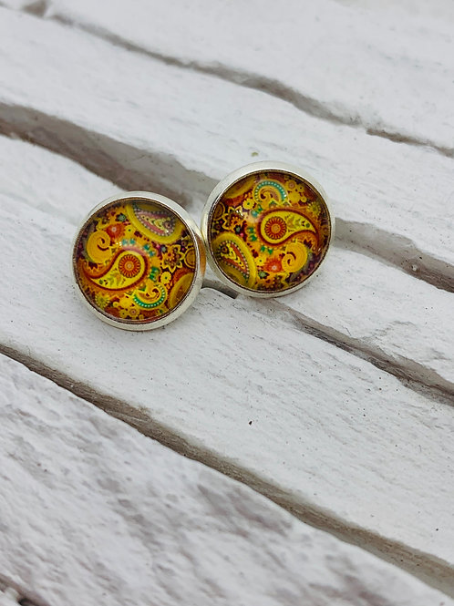 12mm Silver Stud Earrings, Orange/Yellow, Paisley