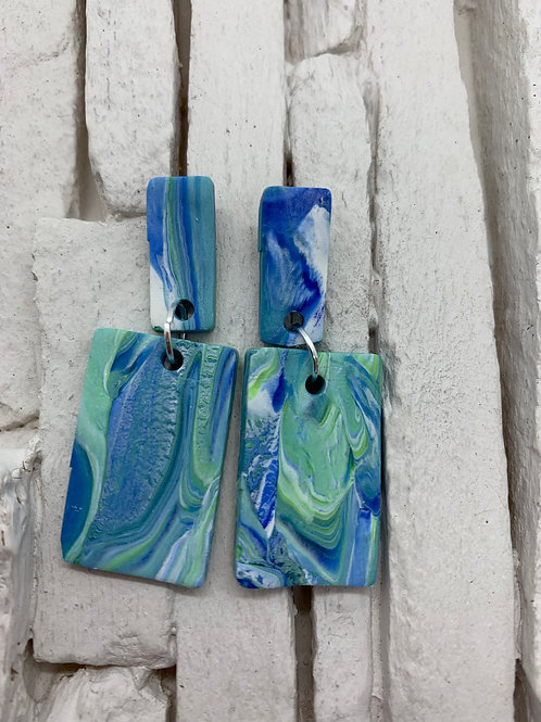 Blue Green & White Rectangle, Clay Earrings