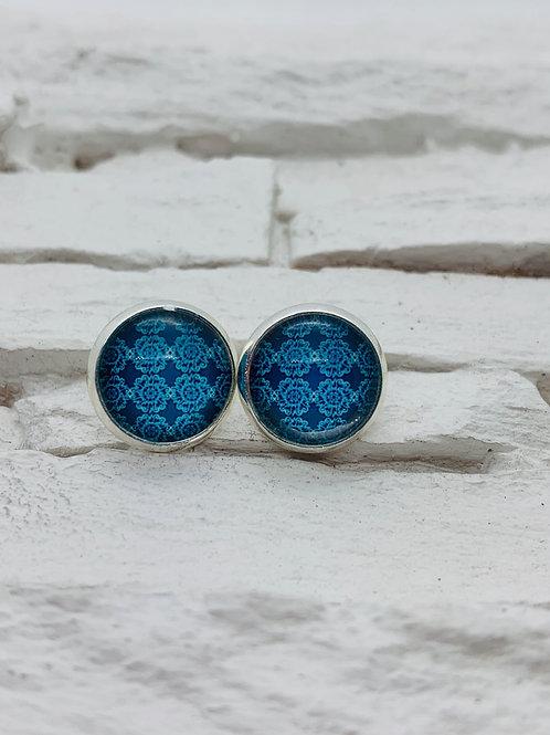 12mm Silver Stud Earrings, Blue Aztec