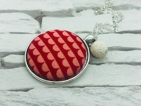 Red/Pink Frill Material, White Lava Bead Necklace