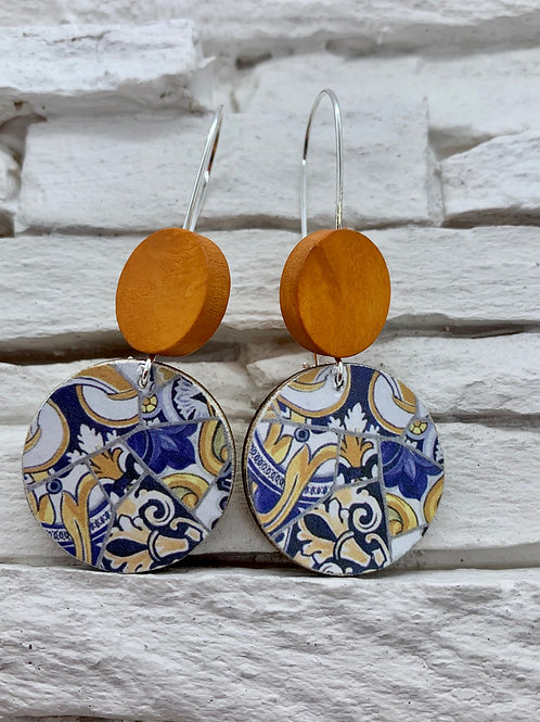 Blue/YellowPattern, Saddle Brown, Double Wooden Round Hanging Earring