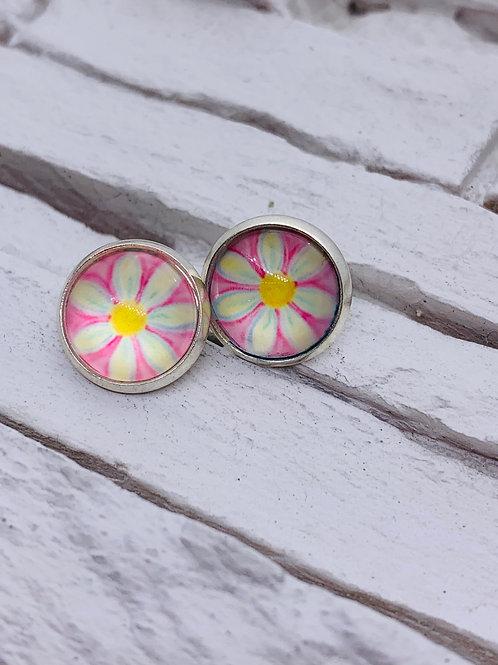 12mm Silver Stud Earrings, Pink/White Flower