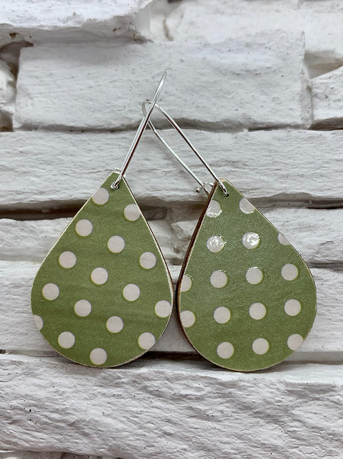 Sage Green/White Polka Dot, Wooden Drop, Hanging Earrings