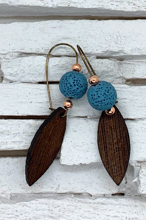 Wooden Drop with Aroma Bead Hanging Earrings