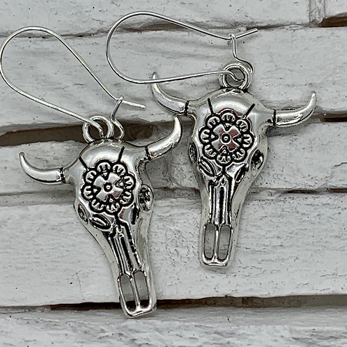 Boho Cow Skull, Silver Hanging Earrings