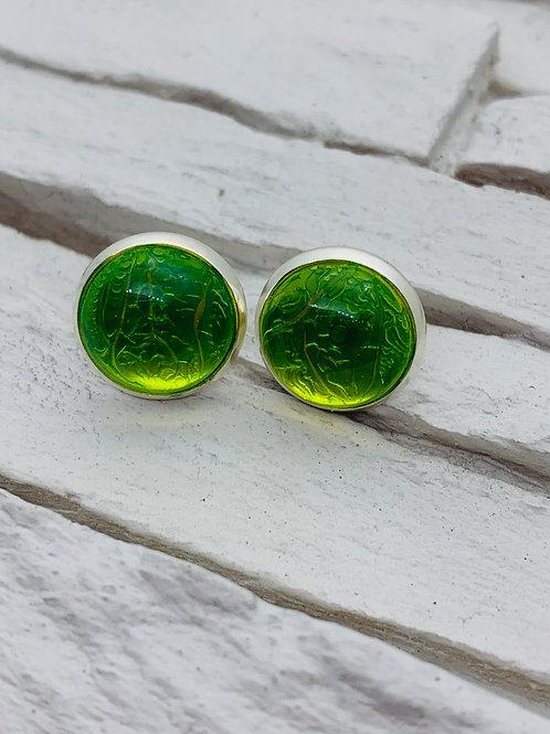 12mm Silver Stud Earrings, Light Green Marble
