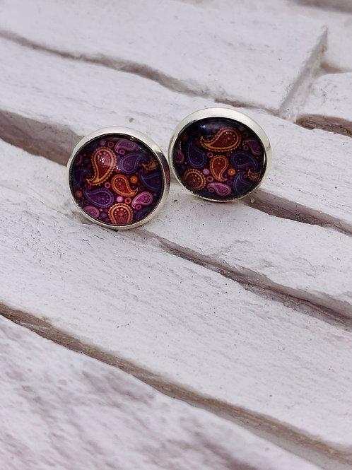 12mm Silver Stud Earrings, Purple/Multicolour Paisley