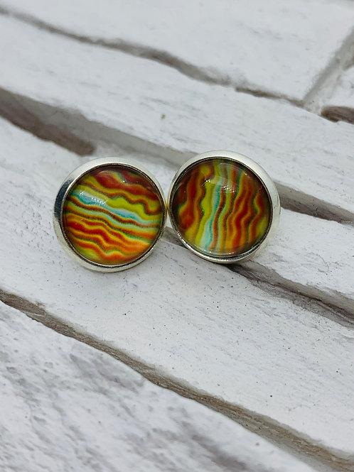 12mm Silver Stud Earrings, Orange/Multicolour Ripple