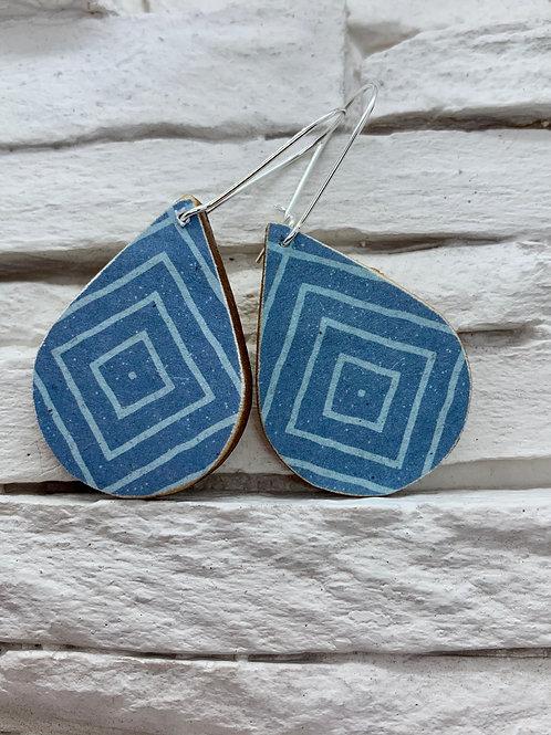 Blue Diamond, Wooden Drop, Hanging Earrings