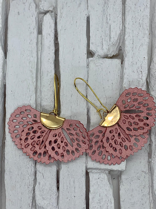 Pink Frill Hanging Earrings