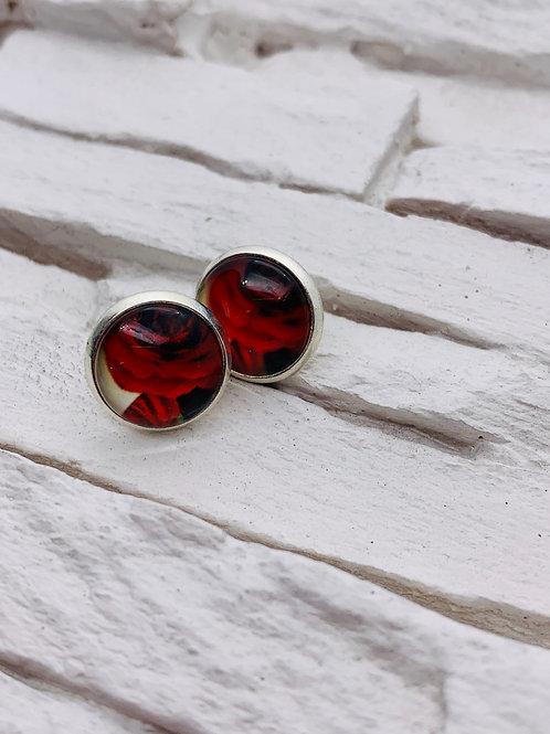 12mm Silver Stud Earrings, Red Rose