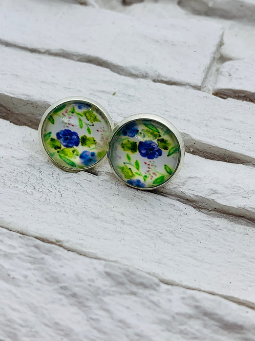 12mm Silver Stud Earrings, Blue/Green Floral