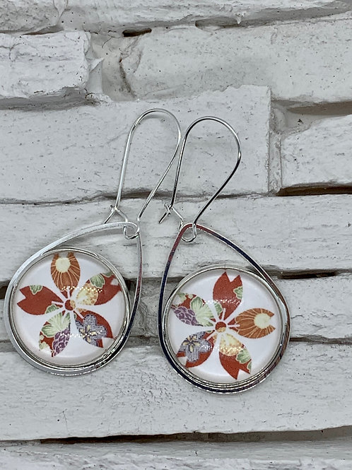 White/Red Flower, Silver, Pendant Drop, Hanging Earrings