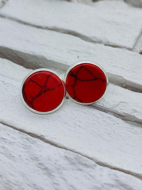 12mm Silver Stud Earrings, Red Marble
