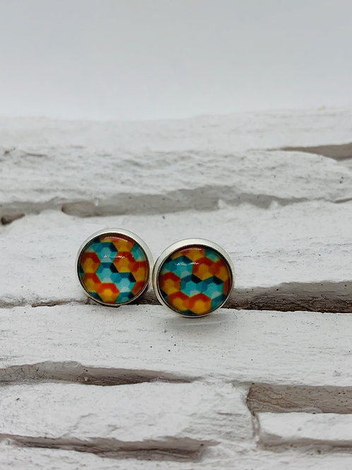 12mm Silver Stud Earrings, Blue/Orange Hive