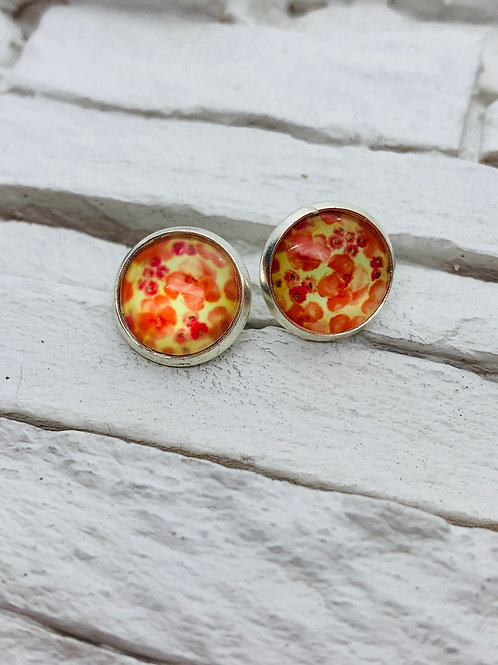 12mm Silver Stud Earrings, Red/Yellow Poppy