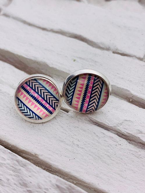 12mm Silver Stud Earrings, Blue/Pink Aztec