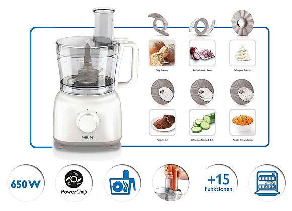 Philips Daily Collection HR7627/00 650-Watt Mini Food Processor (White)
