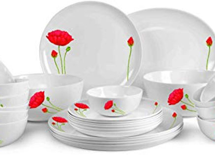 Cello Monarch Red Poppy Opalware Dinner Set, 26-Pieces