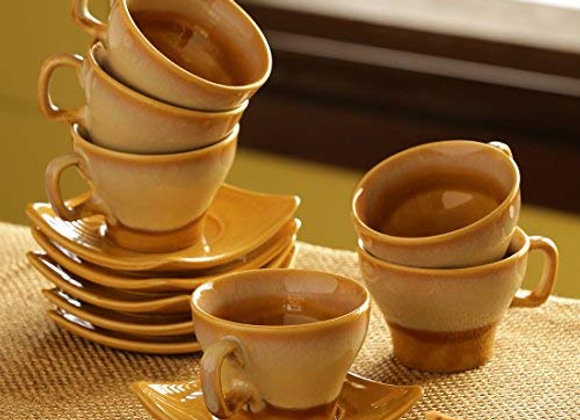 ExclusiveLane Dual-Glazed Studio Pottery Ceramic Cup and Saucer