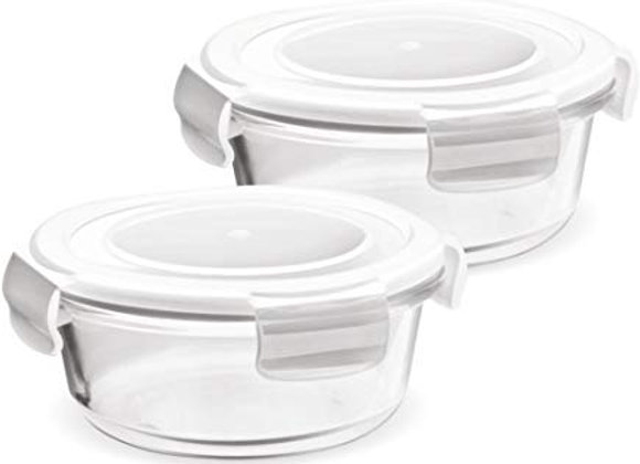 Treo Store Fresh Glassware Round Container 380Ml 2Pcs Set