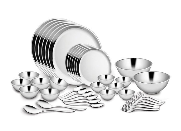 Shri & Sam Stainless Steel Dinner Set, Silver, Pack of 40