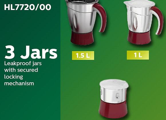 Philips HL 7720 750-Watt Mixer Grinder with 3 Jars (Multicolour)
