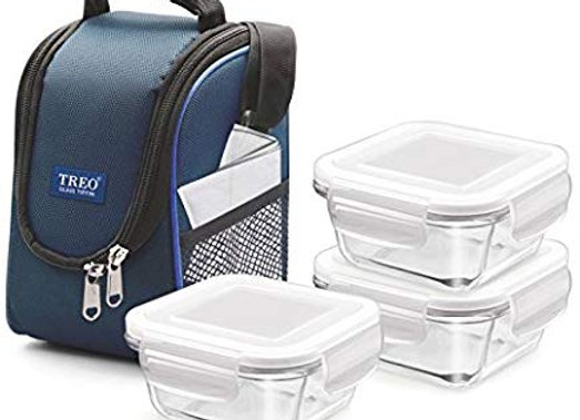 Treo by Milton Health First 3 Pieces Square Container Glass Tiffin, 300 ml