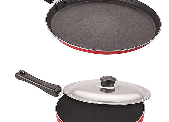 Nirlon Non-Stick Aluminium Cookware Set, 2-Pieces, Red/Black