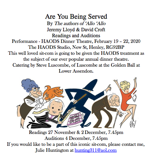 Are you Being Served? HAODS Audition and Performance Details