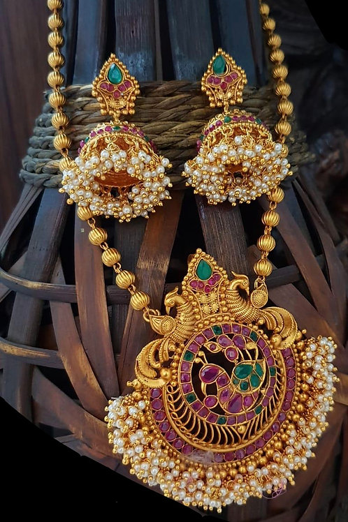 Long Heavy Pearl Pennant with Jhumkas