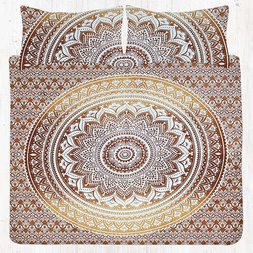 Yellow & Brown Mandala Bedding Set with Pillow Cases