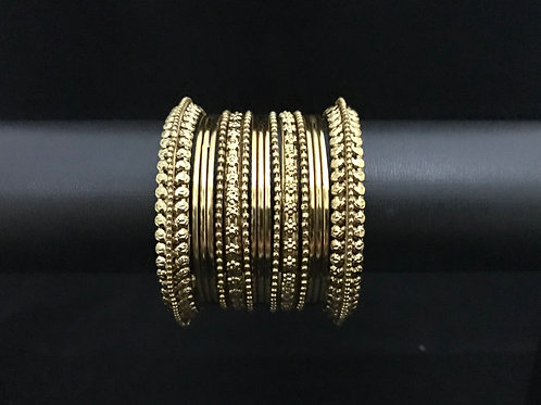 German Silver Bangles Set - Antique Gold