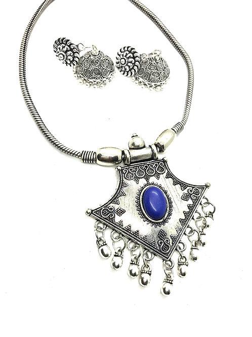 German Silver Blue Stone Set with Jhumkas