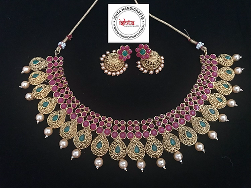 Gold Choker with Stones