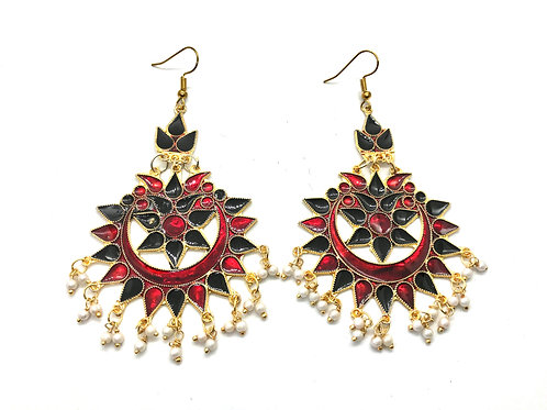 Afghani Ear Ring - Red and Black