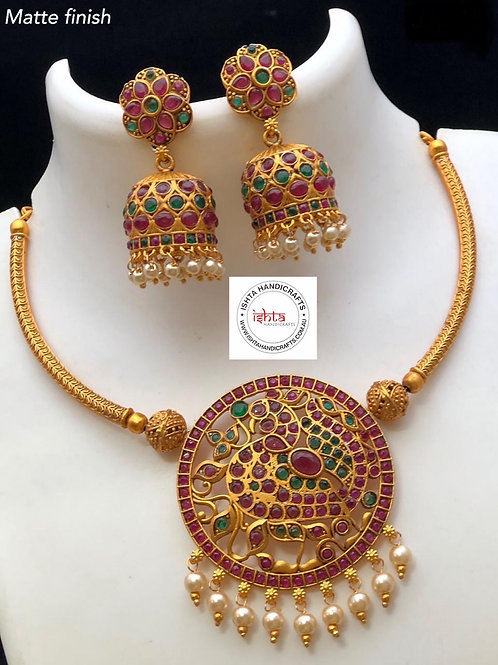 Matte Peacock Set with Jhumkas - Multicolour
