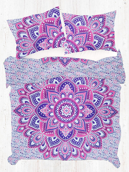 Pink Purple King Size Mandala Quilt Cover With Two Pillow Covers