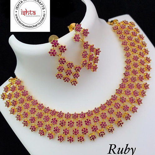 American Diamond High Quality Stones Set - Ruby