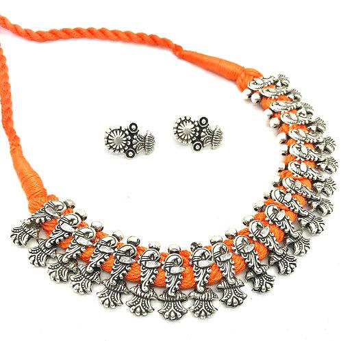 German Silver Choker - Orange