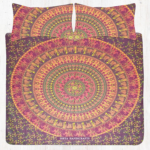 Meroon & Yellow Mandala Bedding Set with Pillow Cases